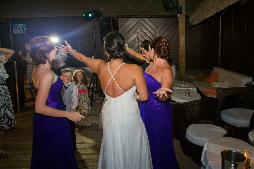 Bride and maids singing