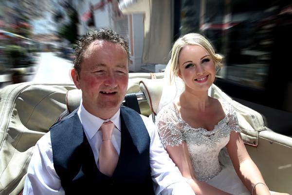 Wedding car with father