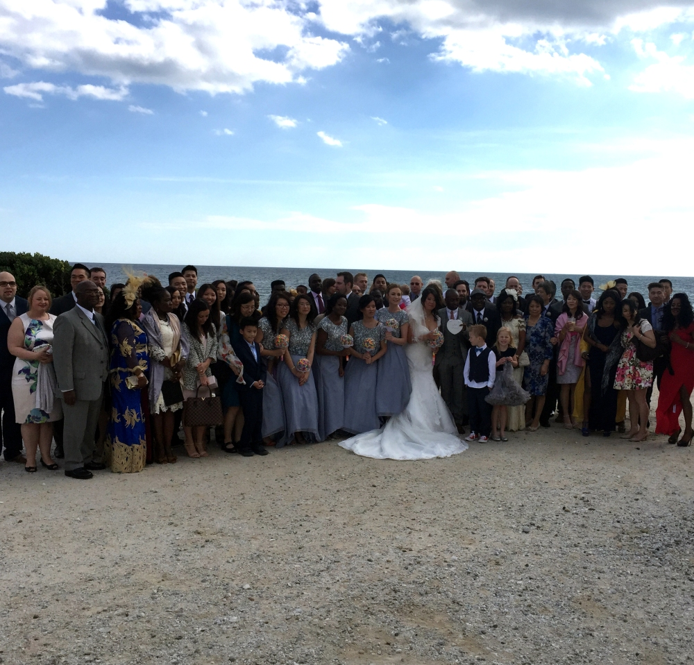 Wedding guests at Sunset Beach Club
