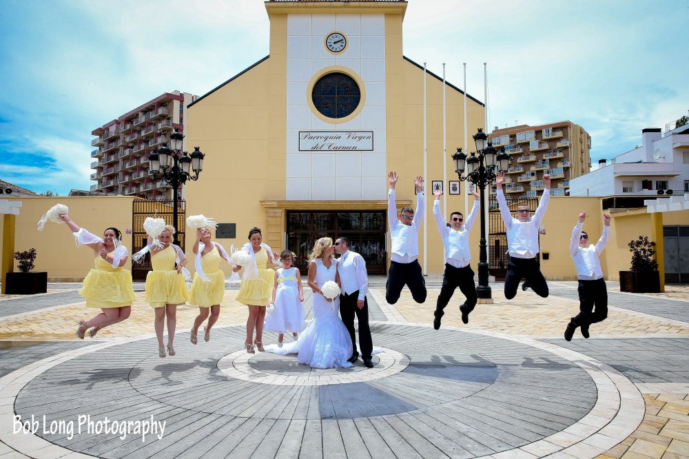 Bridal party outside of Church