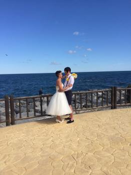 Bride and Groom on the Promenade