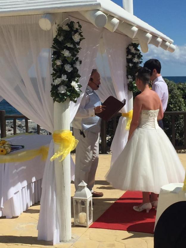 Bride in Short Wedding Dress
