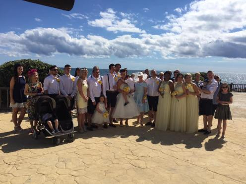 Wedding with Yellow Colour Scheme by the Sea