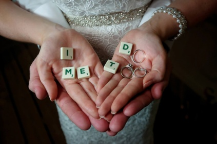 Scrabble letters with Wedding rings