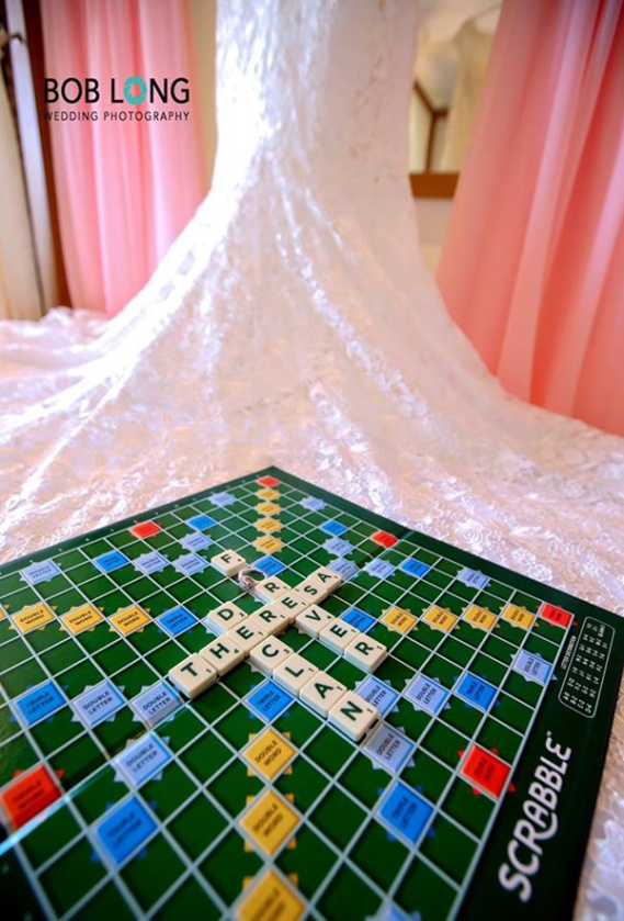 Scrabble with Wedding dress